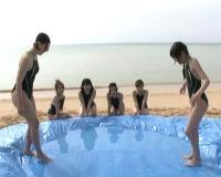 強化合宿にやって来た水泳部!競争心を養うためのローション相撲でヌルヌル絡み合いエロすぎる姿に!