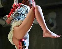 [杏樹紗奈]四つん這いで浣腸を注入され片足吊り緊縛で玩具責めで恥辱のアナル調教で鬼畜中出し