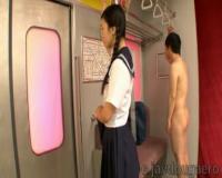 古川いおり 電車内で女子学生が全裸の変態男に痴漢されるイメクラ