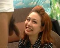 〖CFNMフェラ〗茶髪のOLお姉さんがおっぱいタッチさせながらフェラ♡口内発射してごっくんまで!!